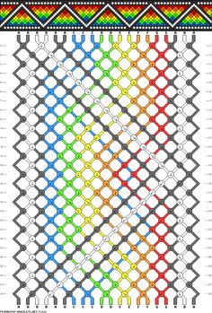 Friendship bracelet pattern - 20 strings, 7 colors - zigzag, dots, border, diamonds, checkers, rainbow, triangles
