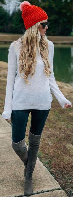 #fall #fashion / gray knit + color pop