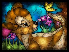 Faux stained Disney glass of Bambi Deco Disney, Bambi Disney, Art Disney, Disney And Dreamworks, Disney Love, Disney Magic, Bambi 3, Bambi 1942, Disney Collage