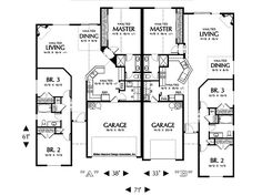 Main Floor Plan of Mascord Plan 4028 - The Eagleton - Vaulted Kitchen and Corner Fireplace Duplex Floor Plans, House Floor Plans, Family House Plans, Best House Plans, Floor Plan Drawing, Traditional Style Homes, Duplex House Design, Multi Family Homes, Planer