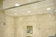 Need another reason to love Ceilume? You can even take it in the shower with you. The vinyl material resists mildew and molding and can withstand extreme humidity! Now that's quality! Drop Ceiling Tiles, Dropped Ceiling, Ceiling Lights, Shower Installation, Can Lights, Bathroom Inspiration, Cool Kitchens, Home Remodeling, Bathroom Ceilings