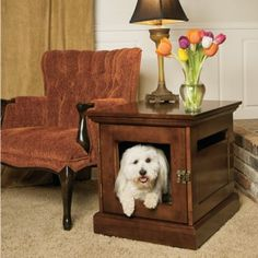 Denhaus Townhaus Mahogany Wood Dog Crate Furniture