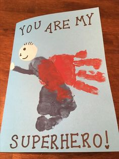 Father's Day craft for kids - Father's Day card - Superman - superhero things for fathers day, mothers dat gift ideas, dads birthday ideas diy Kids Fathers Day Cards, Fathers Day Brunch, Easy Fathers Day Craft, First Fathers Day, Kids Cards, Father's Day Gifts, Toddler Fathers Day Gifts, Homemade Fathers Day Card, Baby Cards
