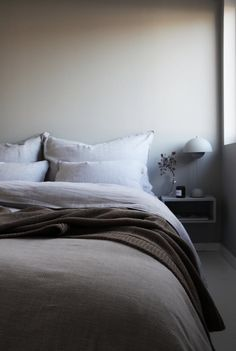 Upside to Light Gray Linen Duvet Cover - homesdeccor Accent Wall Bedroom, Bedroom Bed, Dream Bedroom, Master Bedroom, Bedroom Decor, Bedroom Ideas, Grey Bed Frame, Awesome Bedrooms, Home And Living