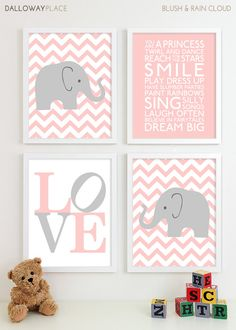 Baby Girl Nursery Art Chevron Elephant Nursery Prints, Kids Wall Art Baby Girls Room Baby Nursery Decor Playroom Rules Quote Art - Four 8x10. $50.00, via Etsy.