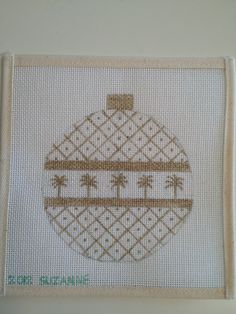 New Handpainted HP Needlepoint Canvas Palm Trees in Gold Christmas Ornament | eBay