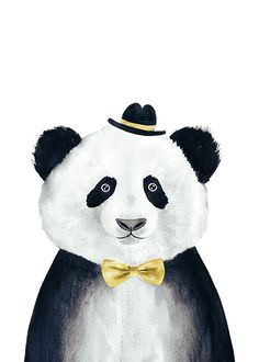 Panda with hat, poster