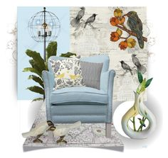 """""""Floral Bird"""" by elsiemarley22 ❤ liked on Polyvore featuring interior, interiors, interior design, home, home decor, interior decorating, Seabrook, Nearly Natural, Fatboy and Safavieh"""