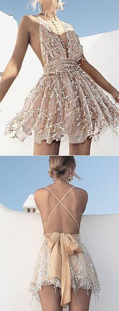 Deep V-neck Homecoming Dress, Lace-up Backless Homecoming Dress, Sequins Short Homecoming Dress, Shop plus-sized prom dresses for curvy figures and plus-size party dresses. Ball gowns for prom in plus sizes and short plus-sized prom dresses for Backless Homecoming Dresses, Hoco Dresses, Pretty Dresses, Beautiful Dresses, Formal Dresses, Short Backless Dress, Event Dresses, Dress Prom, Stylish Dresses