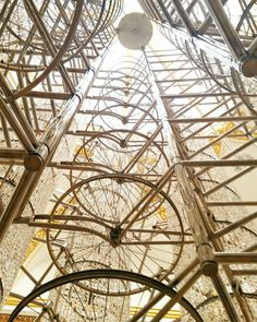 This is the @AiWeiWei chandelier from below. Can you see? It's made of bicycles.