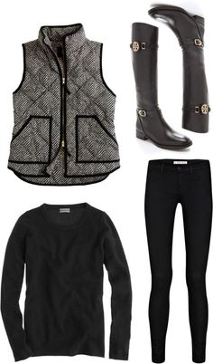 Fall-Winter Casual Chic Outfit Vest and riding boots Cute Winter Outfits, Fall Outfits, Casual Outfits, Vest Outfits, Outfit Winter, Black Outfits, Mode Chic, Mode Style, Mode Outfits