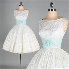 Vintage 1950s Dress  White Lace  Tulle  Full by millstreetvintage, $215.00