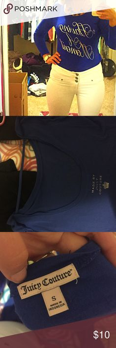 """Juicy Couture Cobalt Blue Tee (S) ✨Juicy Couture Cobalt Blue Open Back, Ladies Size Small Long Sleeve Tee✨ very soft and barely worn! It says """"having a moment"""" Juicy Couture Tops Tees - Long Sleeve"""
