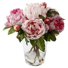 """Handcrafted faux peony arrangement in a glass vase.   Product: Faux floral arrangementConstruction Material: Plastic, polyester, wire and glassColor: PinkFeatures:  HandcraftedGreat accent piece for any decor  Dimensions: 14"""" H x 13"""" DiameterNote: For indoor use onlyCleaning and Care: Dust with dry cloth"""