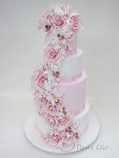 Giant Pink Floral Cascade Wedding Cake www.planetcake.com.au