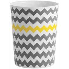 InterDesign Chevron Waste Can, Gray/Yellow