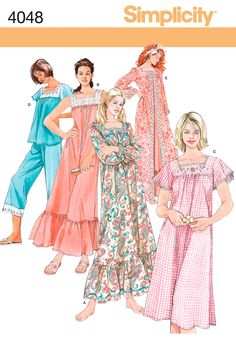 Womens Nightgown, Pajamas and Robe Sewing Pattern 4048 Simplicity...E
