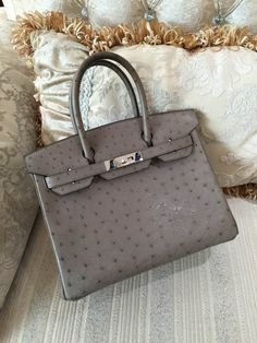 ff10390dc7f Hermes Birkin 30CM Mousse Ostrich Leather Palladium Hardware Q Engraved  Stamp
