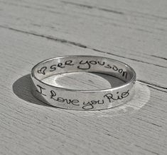 Personalized jewelry personalized quote band by MineOverMatter White Gold Rings, Silver Rings, Marcasite Jewelry, Thing 1, Personalized Rings, Shop Engagement Rings, Engraved Rings, Love Ring, Womens Jewelry Rings