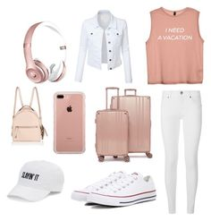 """""""Traveling outfit"""" by unicorn2006 on Polyvore featuring Burberry, Converse, CalPak, Fendi, LE3NO, SO, Belkin and Beats by Dr. Dre"""