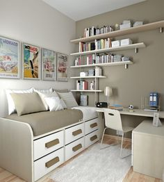 50 Thoughtful Teenage Bedroom Layouts | DigsDigs Going for this...