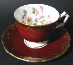 Aynsley Wine Burgundy Gilt Wild Rose Teacup