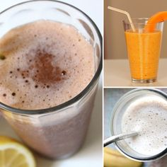 "A Smoothie Recipe For Every Mood  1) Weight Loss - Glowing Green Smoothie    2) Pre-Workout - Low-Cal Protein Powder Smoothie    3) Detox   Spinach Strawberry Lemonade Smoothie or  Ginger Detox Smoothie    4) Sweet Tooth - Vegan Chocolate ""Milkshake"" smoothie    5) Post-workout - Tropical Coconut Water Smoothie    6) Meal Replacement - Banana Berry Peanut Butter Smoothie"