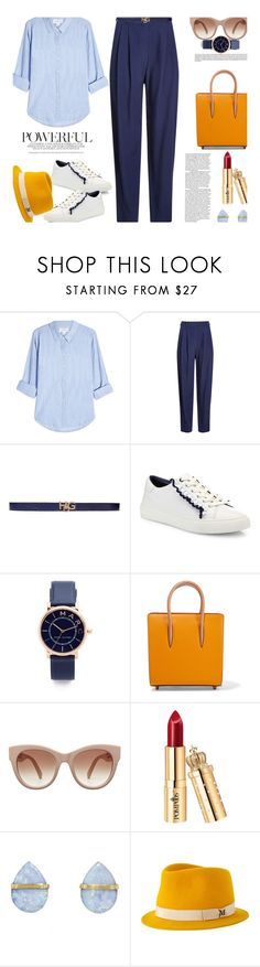 """B&Y..."" by unamiradaatuarmario ❤ liked on Polyvore featuring Velvet, HUGO, Givenchy, Tory Burch, Marc Jacobs, Christian Louboutin, Melissa Joy Manning and Maison Michel"