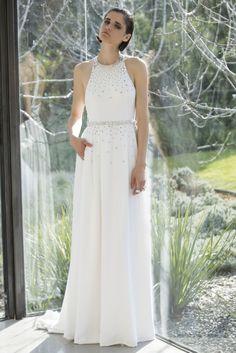 vestido de noiva minimalista  com pequenos brilhantes da coleção Snowflakes de Mira Zwillinger 2015 #casarcomgosto