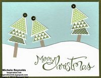 Handmade Christmas card using Stampin' Up! products - Geometrical Set, Sassy Salutations Set, Triangle Punch, What's Up Punch, and Gold Sequin Trim.  By Michele Reynolds, Inspiration Ink, http://inspirationink.typepad.com/inspiration-ink/2014/11/november-christmas-card-camp-follow-up.html.