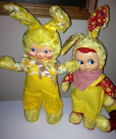 2 Vintage Gund swedlin  bunny rubber face rushton type stuffed easter toy doll