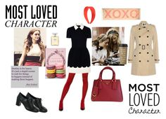 """Most Loved Character: Blair Waldorf XOXO Gossip Girl"" by avengerstory-364 ❤ liked on Polyvore featuring RED Valentino, Burberry, Prada, Chanel, Rebecca Minkoff, Kate Spade, xoxo, blairwaldorf, gossipgirl and wwbwd"