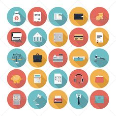 Finance and Market Flat Icons Set Modern design vector illustration flat icons set with long shadow style of financial service items, business management symbol, banking accounting and money objects. Isolated on white background. http://startupstacks.com/icons/finance-market-flat-icons-set.html - free download