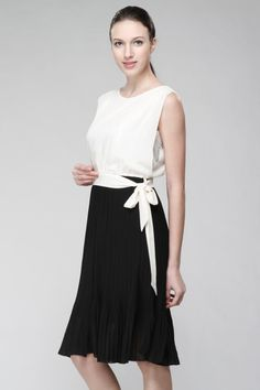 Black/Cream Chiffon Pleated Nursing Dress - Breastfeeding Maternity Pregnancy - white round neckline side tide trendy sleeveless - #S03a