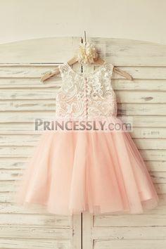 Princessly.com-K1000104-Ivory Lace Blush Pink Tulle Flower Girl Dress-31
