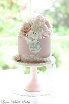 Peony, roses and hydrangea with lace   by Leslea Matsis Cakes