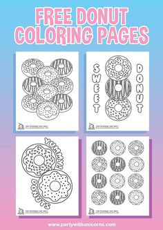 Today's I am posting some donut coloring pages. I started this week with the best intentions of getting out all of our donut party content but I Donut Birthday Parties, Donut Party, Birthday Party Themes, 2nd Birthday, Birthday Ideas, Mermaid Coloring Pages, Free Coloring Pages, Coloring For Kids, Colouring