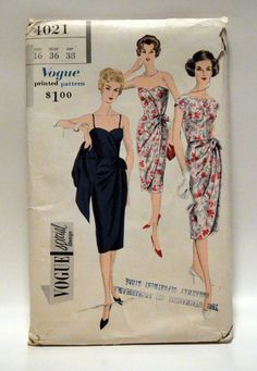 Vintage Vogue Special Design 4021 1 Piece Wrapped Dress Jacket (Sarong dress pattern) Vintage Wear, Mode Vintage, Vintage Vogue, Vintage Style, Evening Dress Patterns, Vintage Dress Patterns, Clothing Patterns, Retro Outfits, Vintage Outfits