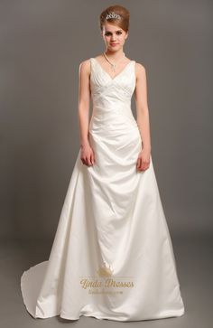 lindadress.com Offers High Quality Ivory Elegant A Line V-Neck Empire Waist Wedding Dresses With Beading,Priced At Only USD USD $198.00 (Free Shipping)
