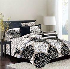 King 10 Piece Comforter Bedding and Sheet Set, Reversible Damask to Stripe, Tan Black and White
