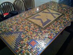 Sigma Chi table with beer pong outlines!
