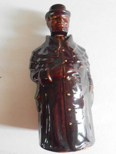 Rare Brown Red Ware Redware Clay Glazed Pottery Figural Bottle Decanter Vintage