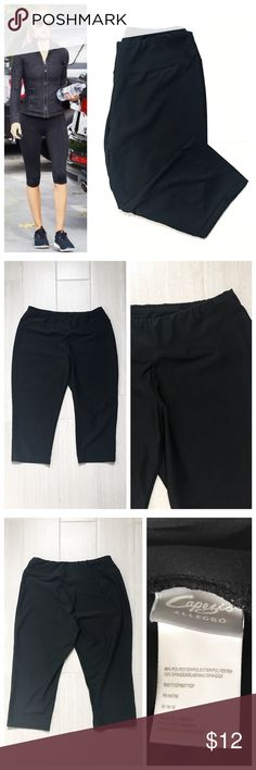 Capezio Black Capri Workout Pants Black workout pants, capri length, stretch to fabric, elastic at top of waistband. Capezio Allegro brand size medium. 88% polyester 12% spandex. First photo on left not actual item just showing for styling inspiration! Capezio Pants