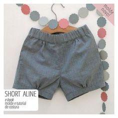 shorts das crianças - molde e tutorial de costura . Love Sewing, Sewing For Kids, Baby Sewing, Short Bebe, Short Niña, Baby Boy, Baby Kids, Fashion Kids, Short Infantil