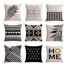 9PCS Good Quality Home Decoration Linen Cushion Covers Pillow Cases - COLORMIX