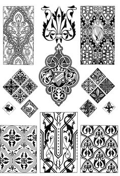 Gothic ornaments готические орнаменты. harp, dragons, leaves, vines, quatrefoil, cross