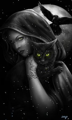 Portfolio for illustrator and designer, Linda M Jones. Gothic, fantasy, cute and roleplaying games; designs for garments and images available for license. Wicca Kunst, Aztecas Art, Wiccan Art, Black Cat Art, Black Cats, Gothic Art, Gothic Images, Crazy Cat Lady, Dark Art