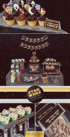 Looking for a boy birthday party with lots of force? Then have a Star Wars Party you must! Heather at Hello My Sweet has designed a completely awesome Star Wars printable party collection that will make any fan excited! Fantasias Star Wars, Decoration Star Wars, Star Wars Party Decorations, Birthday Decorations, Star Wars Essen, Star Wars Food, Star Wars Party Food, Star Wars Themed Food, Girls Star Wars Party