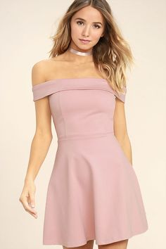 The Season of Fun Blush Pink Off-the-Shoulder Skater Dress is always the perfect pick-me-up! Medium-weight stretch knit shapes an off-the-shoulder neckline (with no slip strip), and princess seamed bodice. A full skater skirt creates a fun fit and flare silhouette. Hidden back zipper.