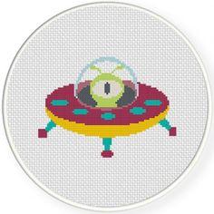Alien on UFO 1 Cross Stitch Pattern